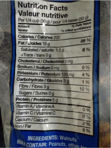 Nutrition label reading