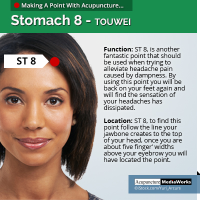 ST8 acupuncture point for dampness